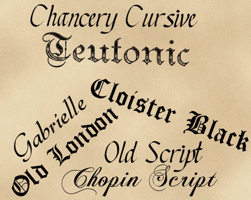 Script and Old Fonts